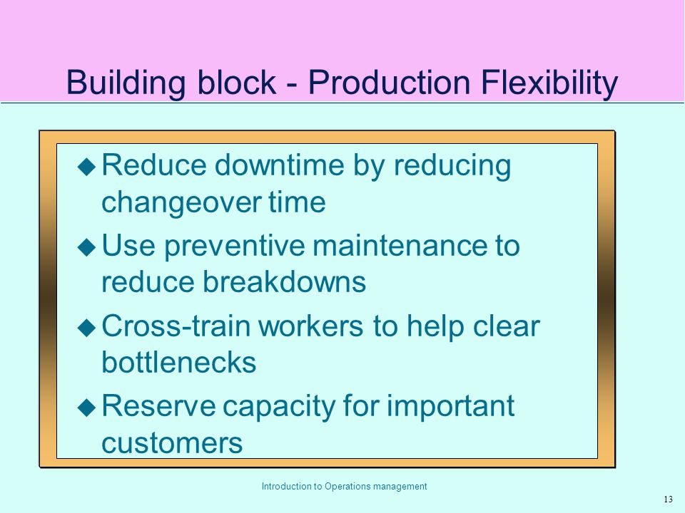 Building block - Production Flexibility