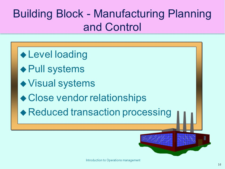Building Block - Manufacturing Planning and Control