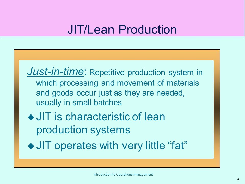 JIT/Lean Production