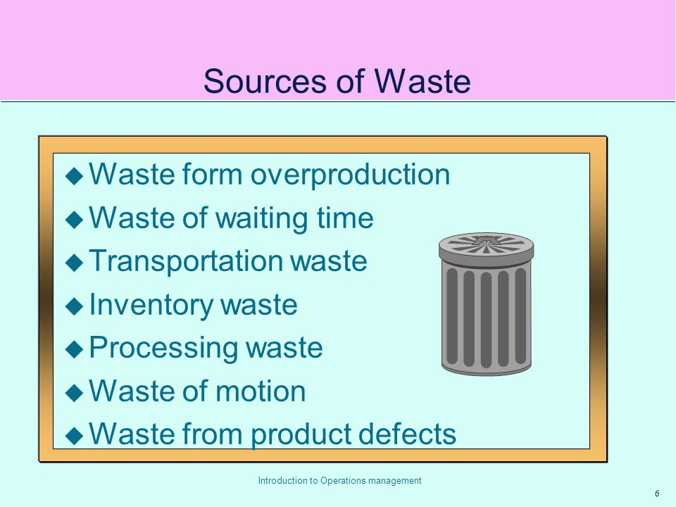 Sources of Waste Waste form overproduction Waste of waiting time