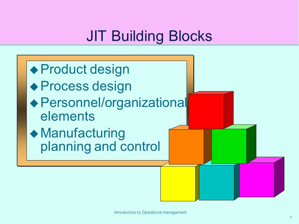 JIT Building Blocks Product design Process design