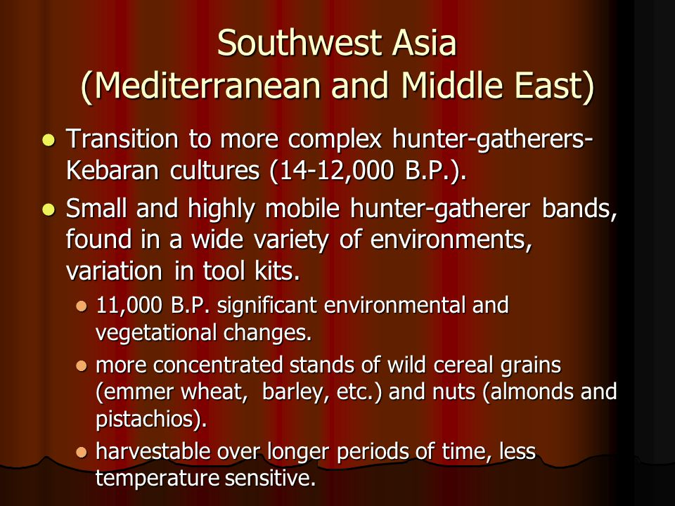 Southwest Asia (Mediterranean and Middle East)