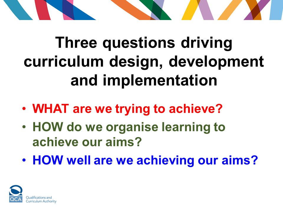 Three questions driving curriculum design, development and implementation