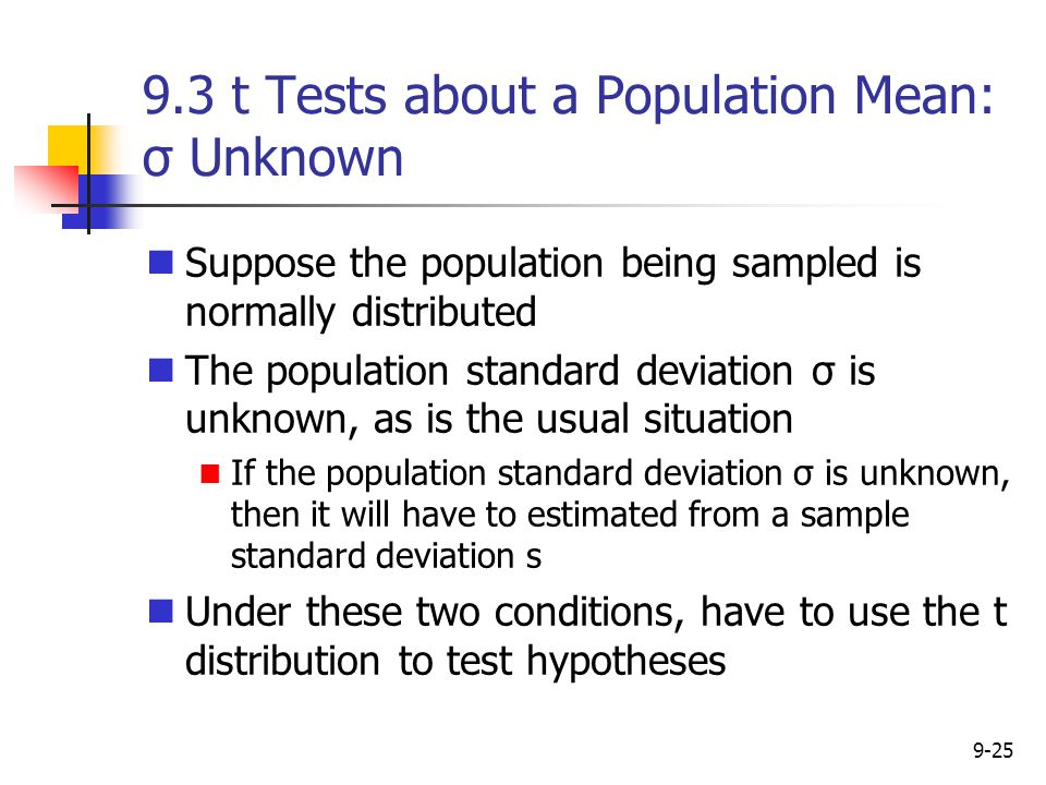 9.3 t Tests about a Population Mean: σ Unknown