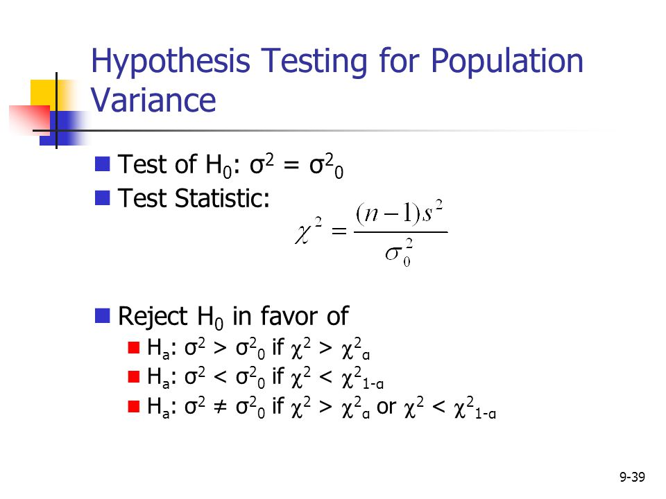 Hypothesis Testing for Population Variance