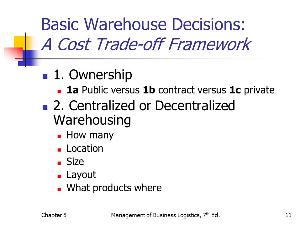 Basic Warehouse Decisions: A Cost Trade-off Framework