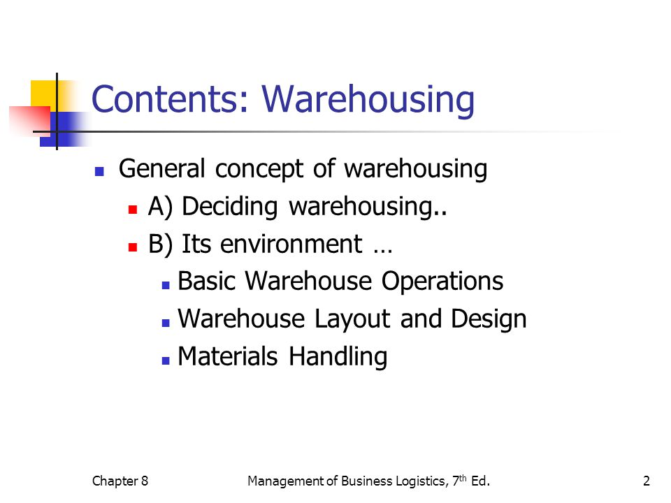 Contents: Warehousing