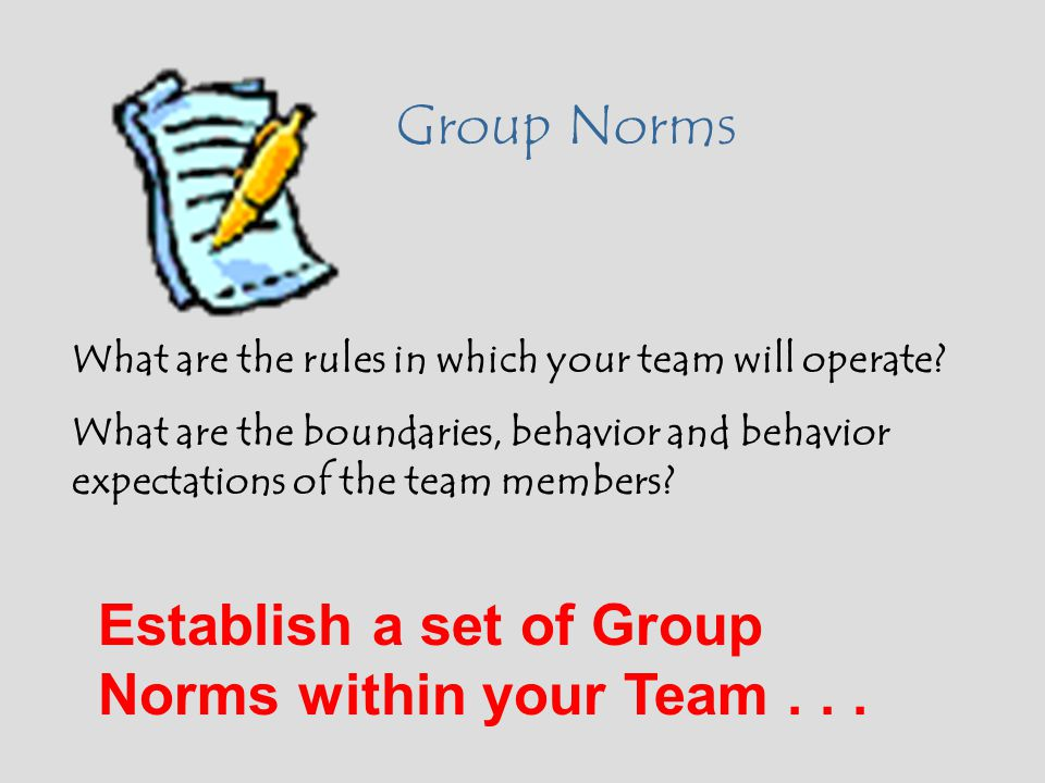 Establish a set of Group Norms within your Team . . .