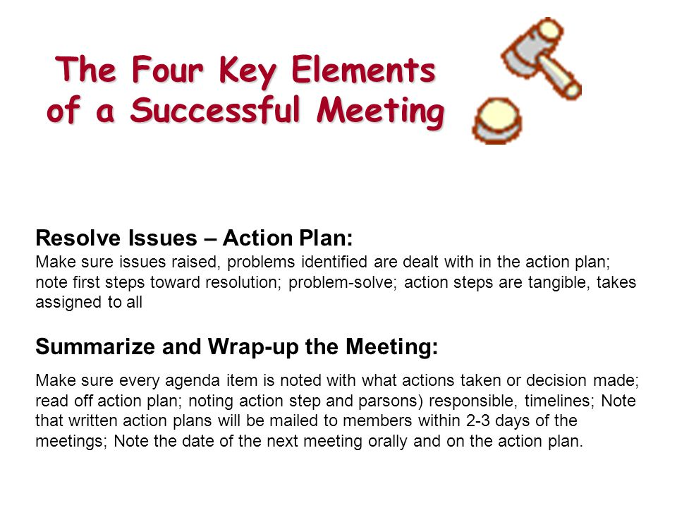 The Four Key Elements of a Successful Meeting