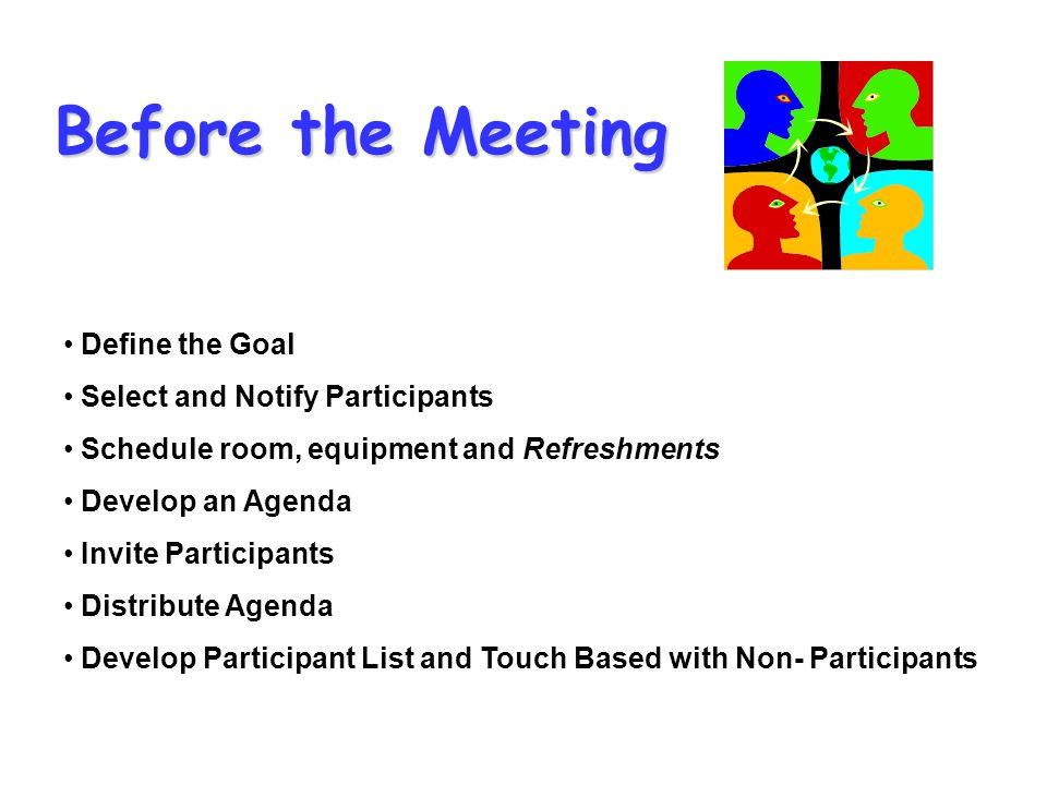 Before the Meeting Define the Goal Select and Notify Participants