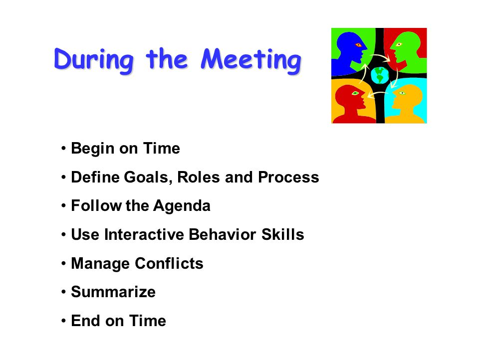 During the Meeting Begin on Time Define Goals, Roles and Process