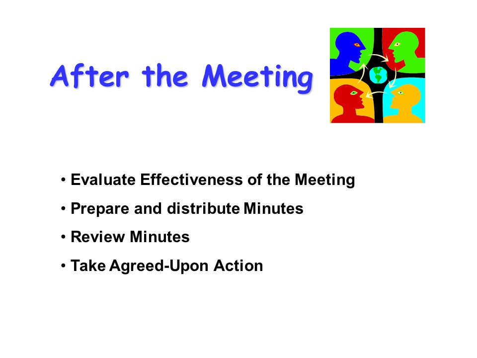 After the Meeting Evaluate Effectiveness of the Meeting