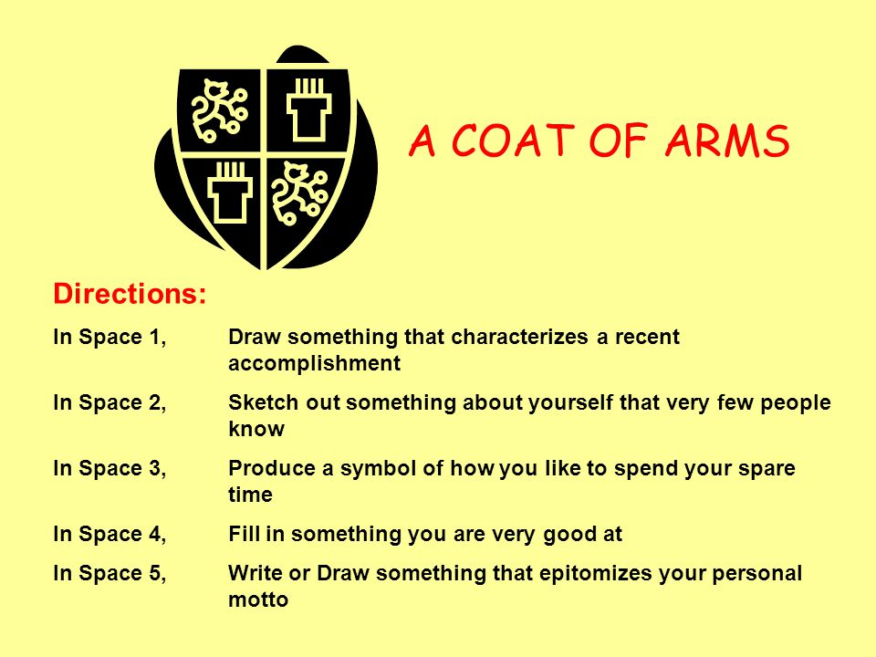 A COAT OF ARMS Directions: