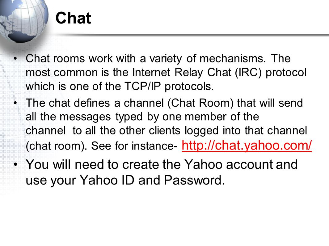 Common Chat Room In Yahoo Messenger