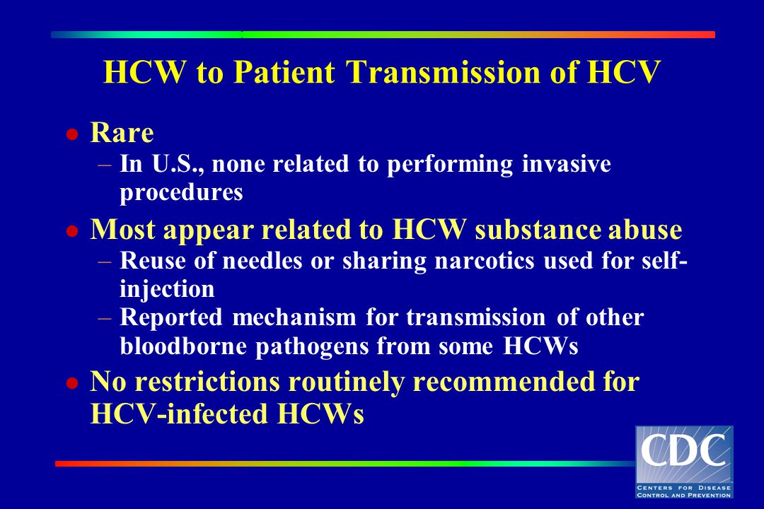 HCW to Patient Transmission of HCV