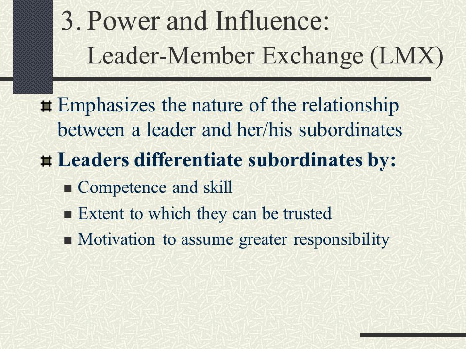 relationship between power and influence Power, authority and influence  characteristics of power power is never just one sided mutual degree of power might exist in any power relationship boss.