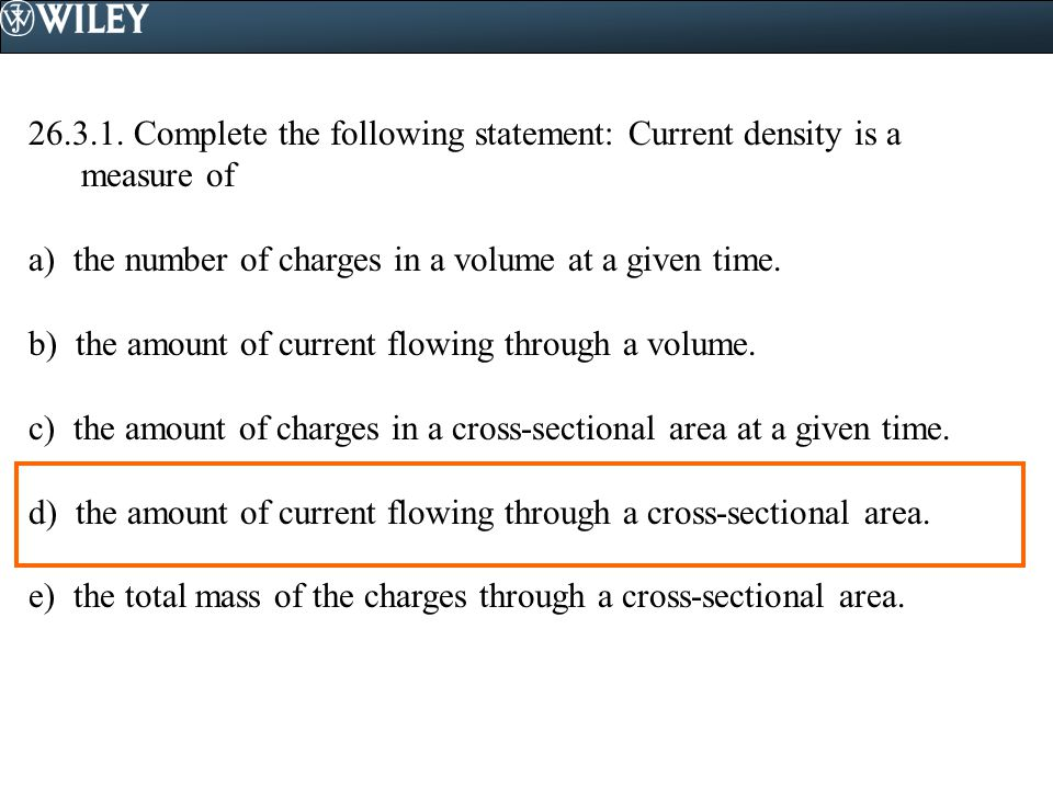 Complete the following statement: Current density is a measure of
