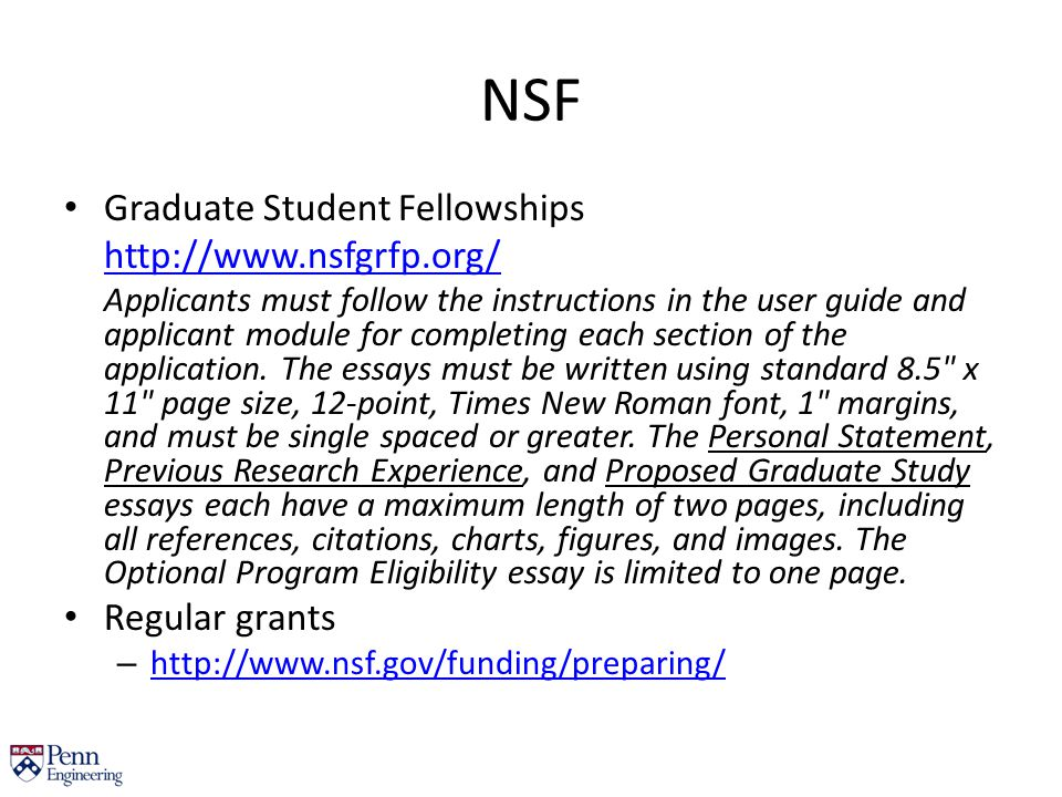 nsf fellowship previous research essay Writing resources grfp statement do not model your statements after previous year's essays national science foundation graduate research fellowship program.