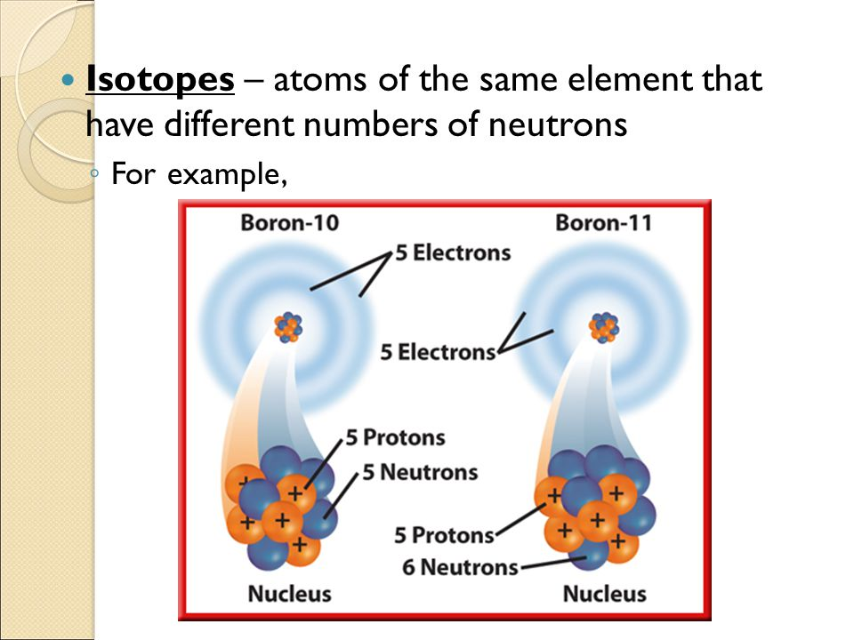 Isotopes – atoms of the same element that have different numbers of neutrons