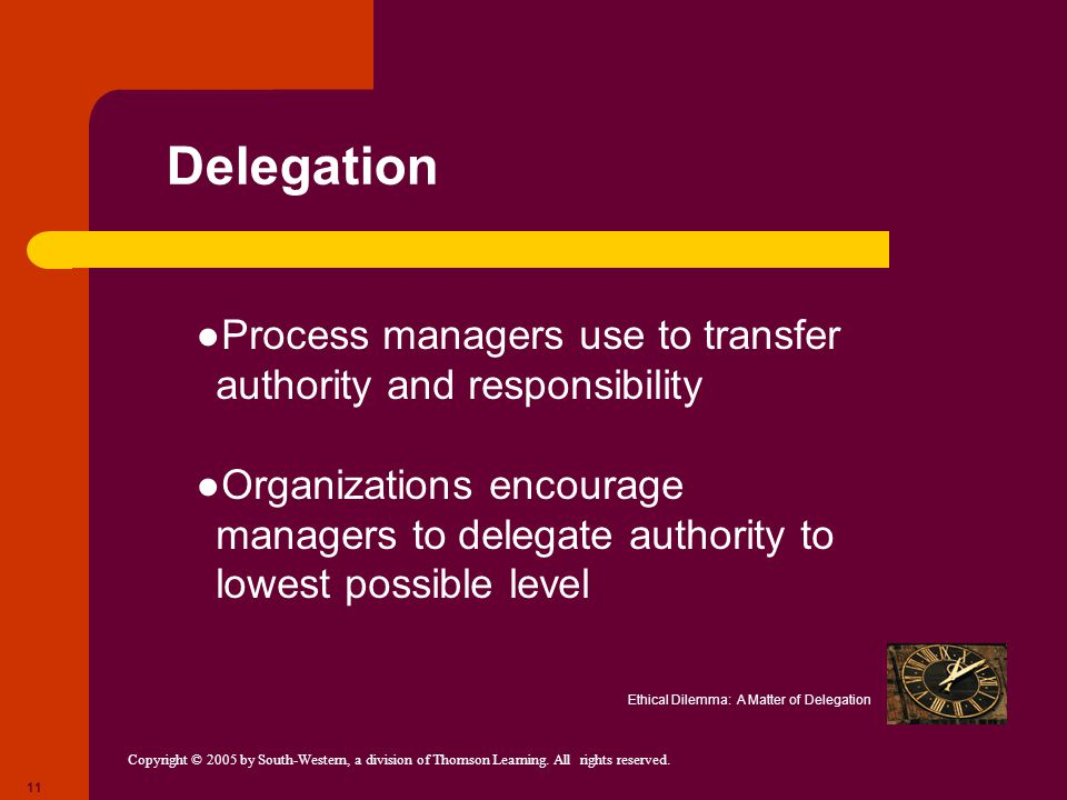 Delegation Process managers use to transfer authority and responsibility.