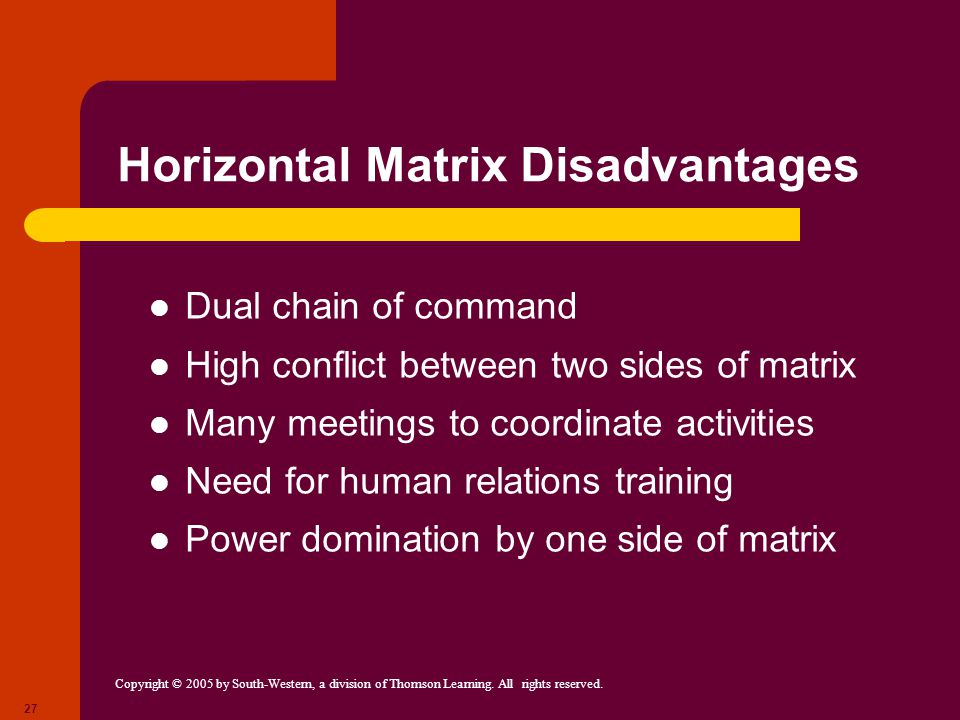 Horizontal Matrix Disadvantages