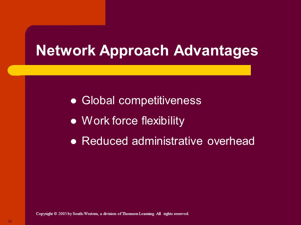 Network Approach Advantages