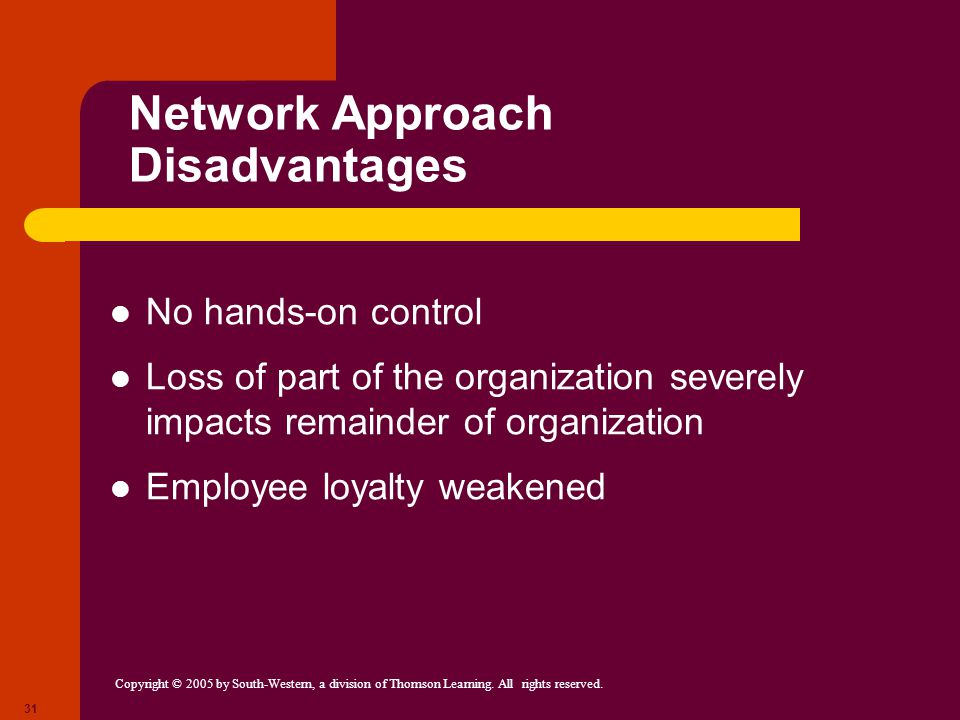 Network Approach Disadvantages