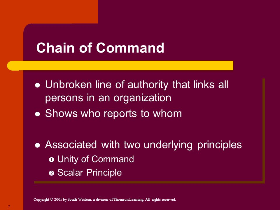Chain of Command Unbroken line of authority that links all persons in an organization. Shows who reports to whom.