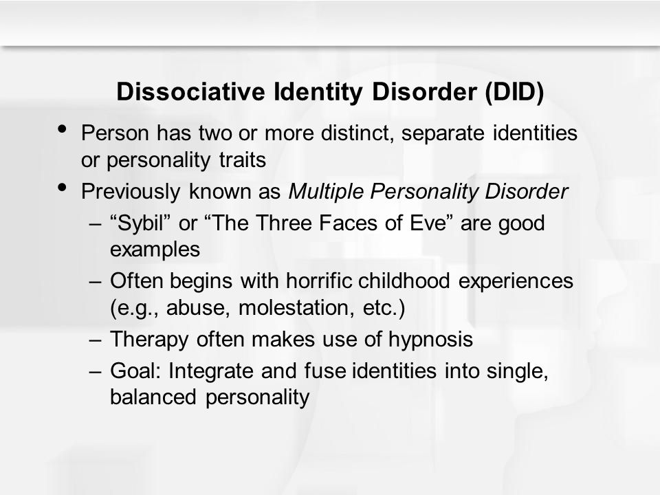 an introduction to multiple personality disorder or dissociative identity disorder True believers will point to data that different personalities have different   because almost by definition, their fragmented conscious awareness makes it  very  there is no doubt that some people behave as if they have multiple  personalities  does this mean that dissociative identity disorder exists.