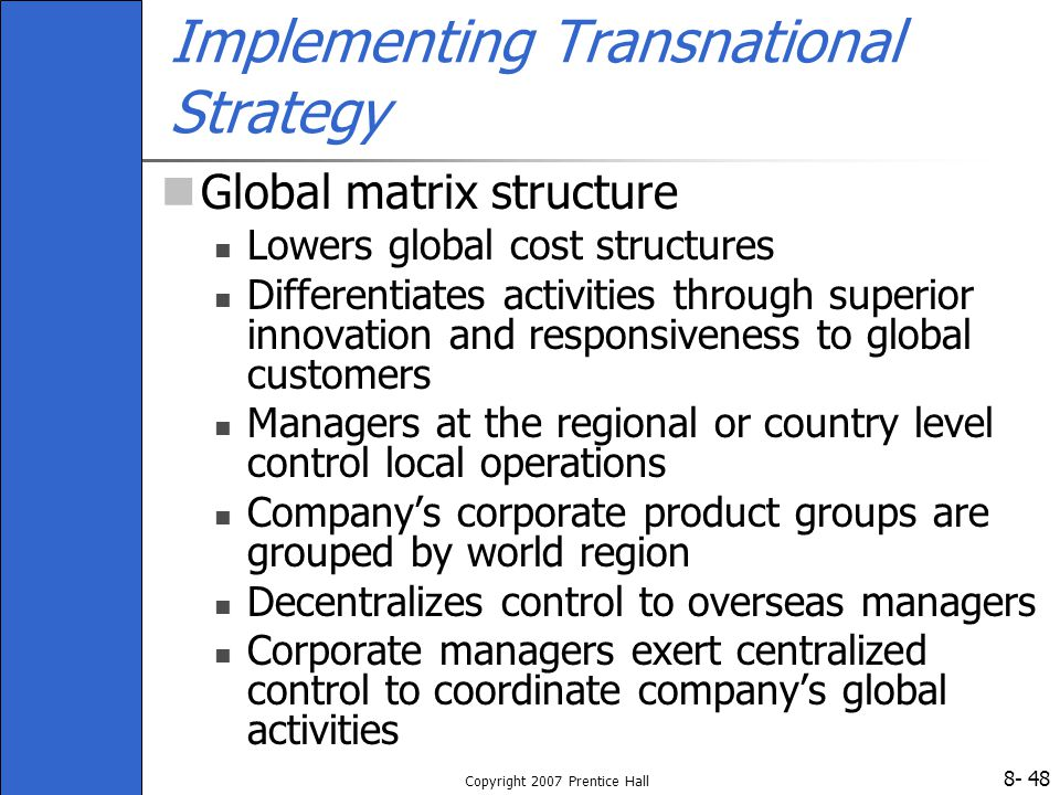 main organisational problems with implementing a transnational strategy Skip to main content  they learn lessons about different business strategies that need to be implemented to create a successful selling campaign  the advantages of transnational organizations.