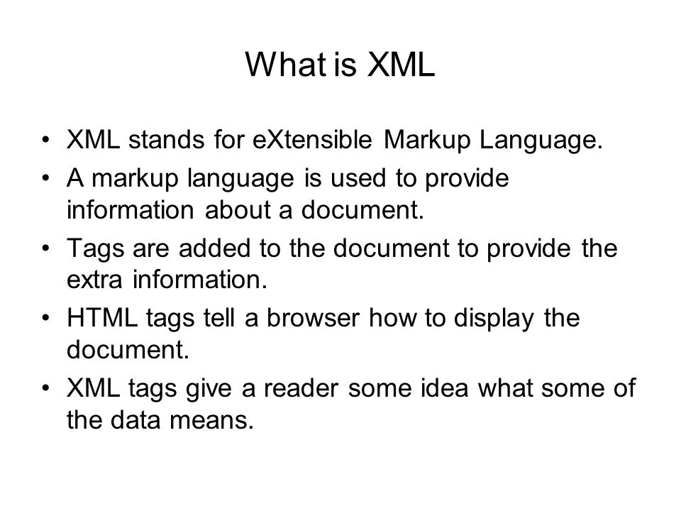 extensible markup language Extensible markup language (xml) defines a set of rules for encoding documents in a format that is both human and machine readable.