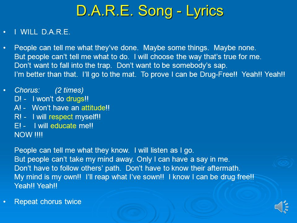 D.A.R.E. Song. - ppt video online download
