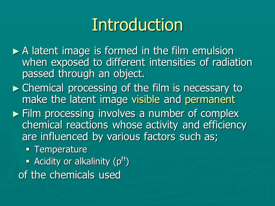the basics of film development Time in solution test for determining film development time   the basics of  film processing in medical imaging madison, wi: medical.