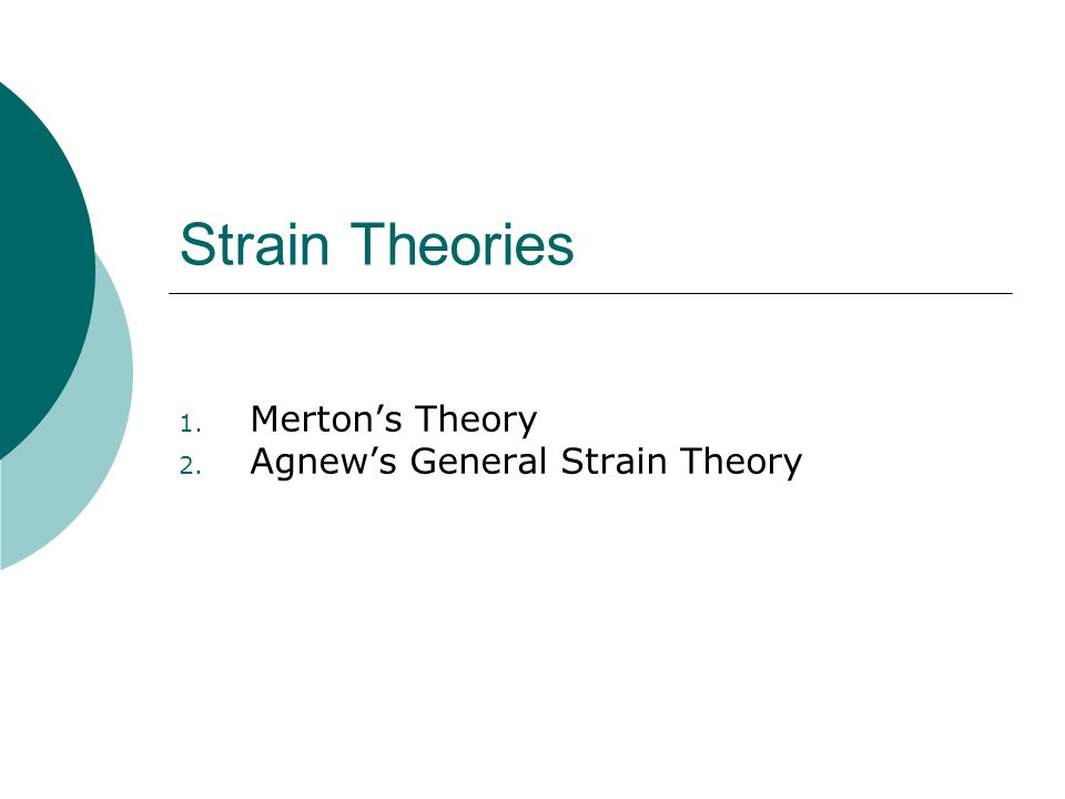 mertons strain theory essay Strain theory explains deviant behavior as an inevitable outcome of the strain individuals experience when society does not provide adequate and approved means to achieve culturally valued goals for example, when a society places cultural value on economic success and wealth, but only provides .