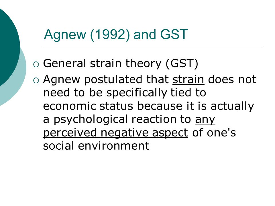 agnews general strain theory Examining the strain-crime relationship among african american women: an empirical test of agnew's general strain theory nathan lowe university of.