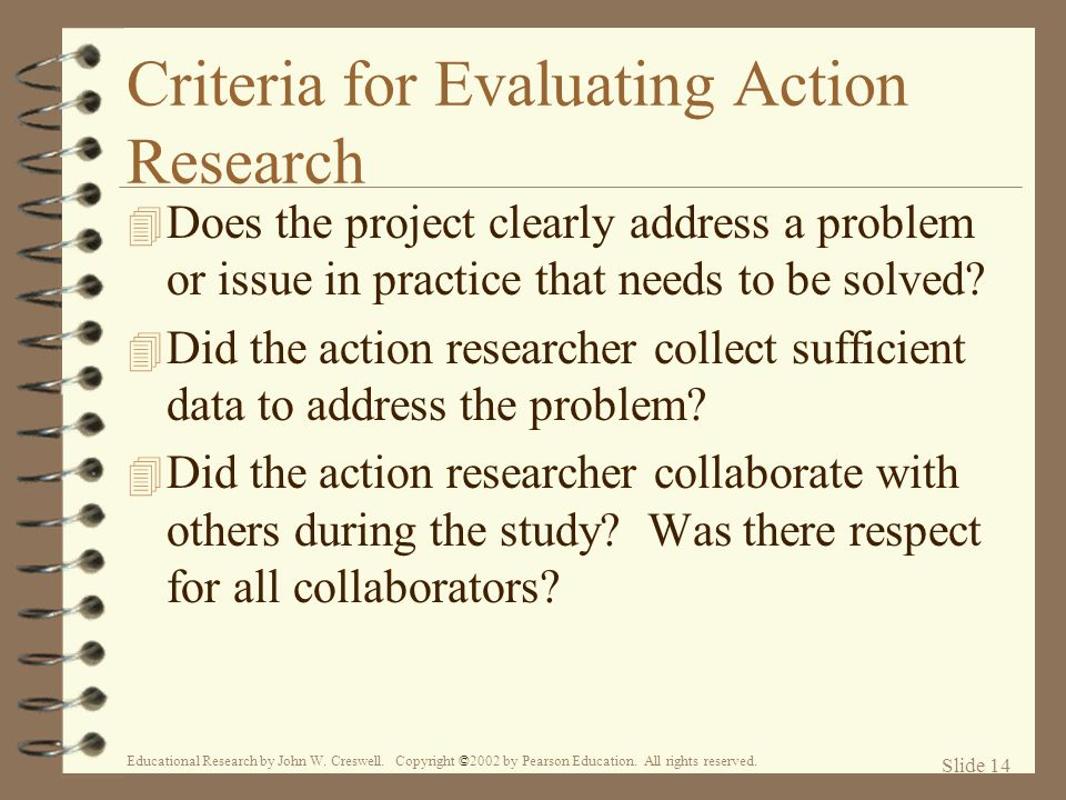 Criteria for Evaluating Action Research