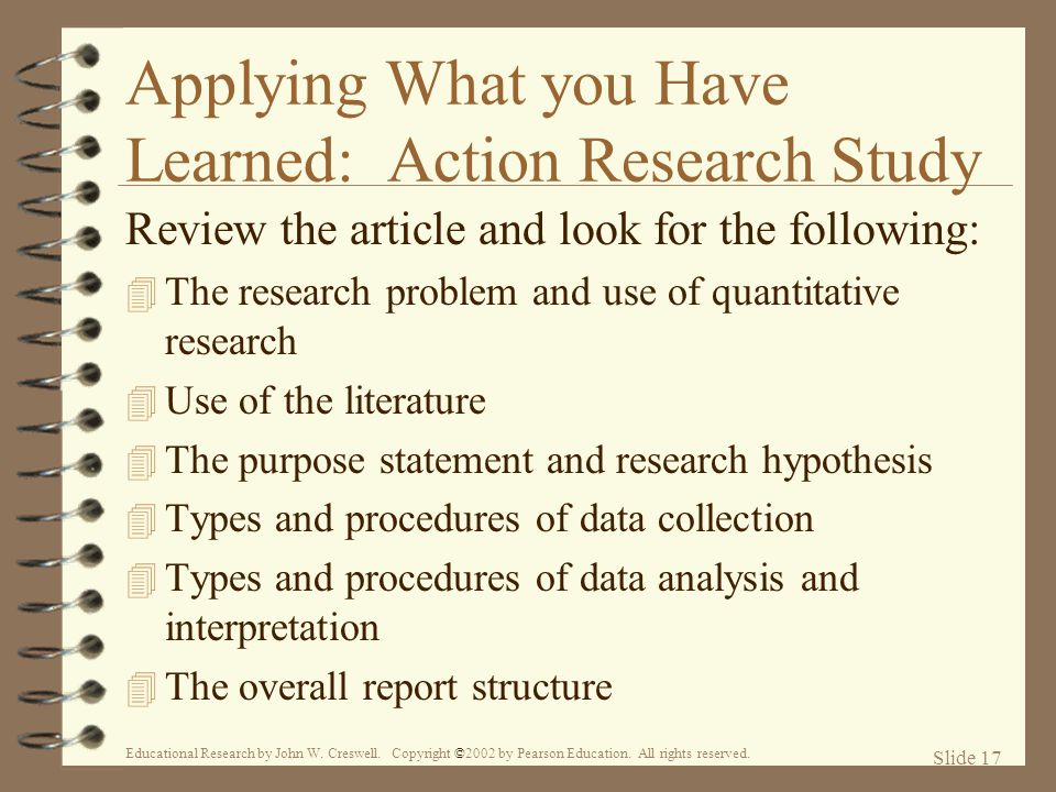 Applying What you Have Learned: Action Research Study