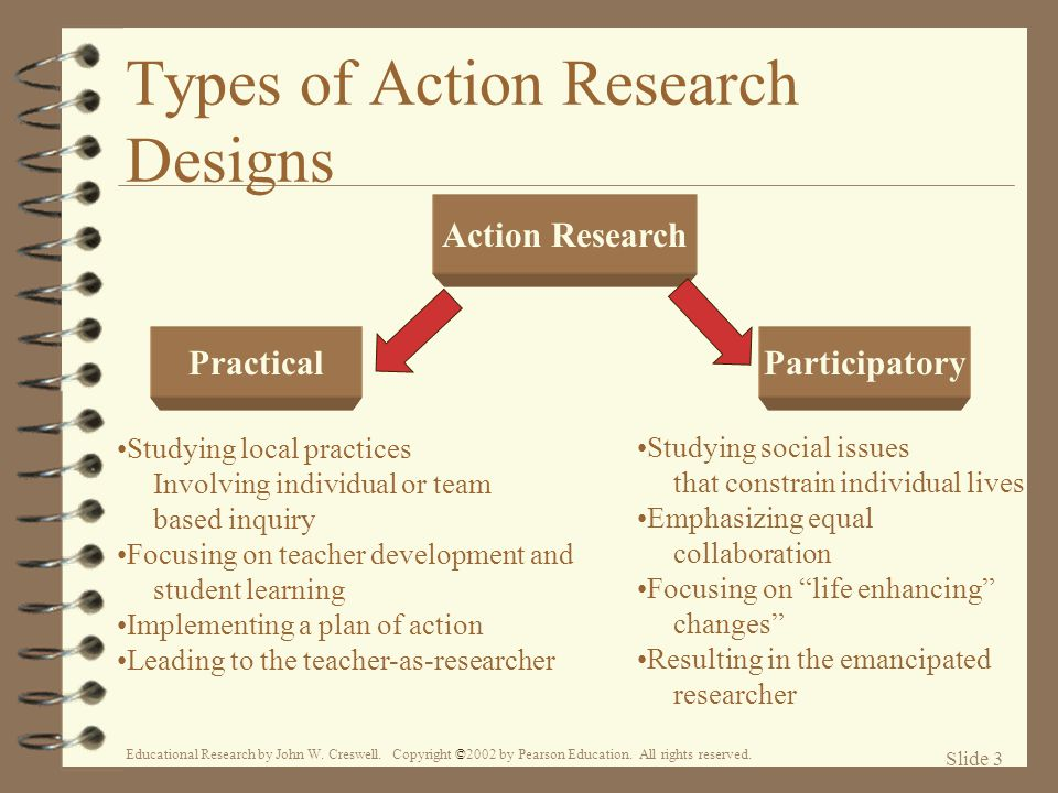 type of action research Action research is either research initiated to solve an immediate problem or a reflective process of progressive problem solving that integrates research, action, and analysis the integration of action includes the development and implementation of a plan or strategy to address the focus of the research.