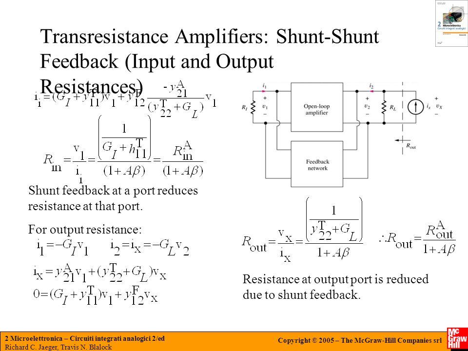 Transresistance Amplifiers: Shunt-Shunt Feedback (Input and Output Resistances)