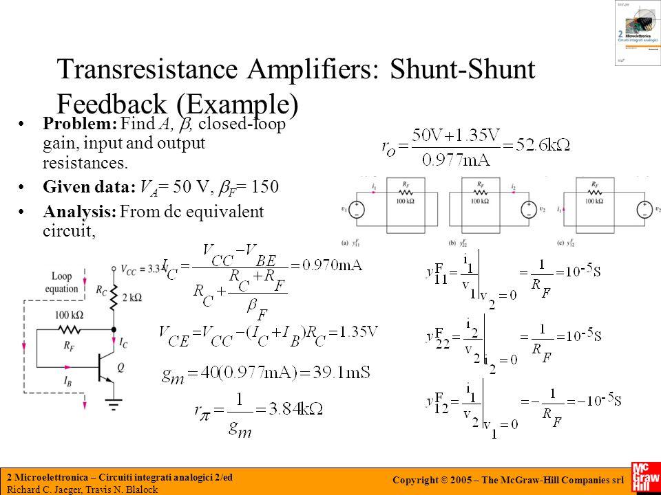 Transresistance Amplifiers: Shunt-Shunt Feedback (Example)