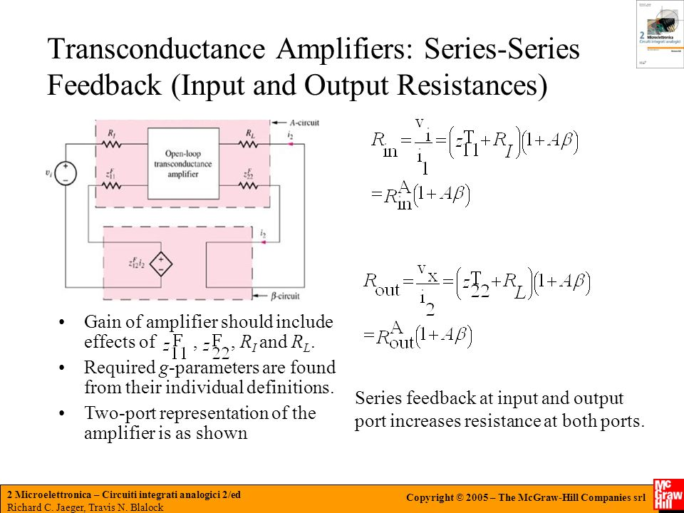 Transconductance Amplifiers: Series-Series Feedback (Input and Output Resistances)