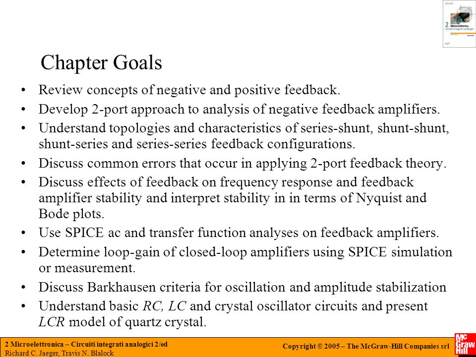 Chapter Goals Review concepts of negative and positive feedback.