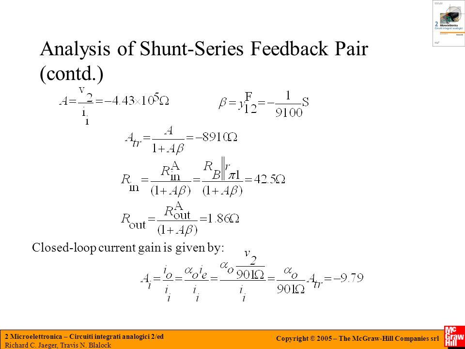 Analysis of Shunt-Series Feedback Pair (contd.)