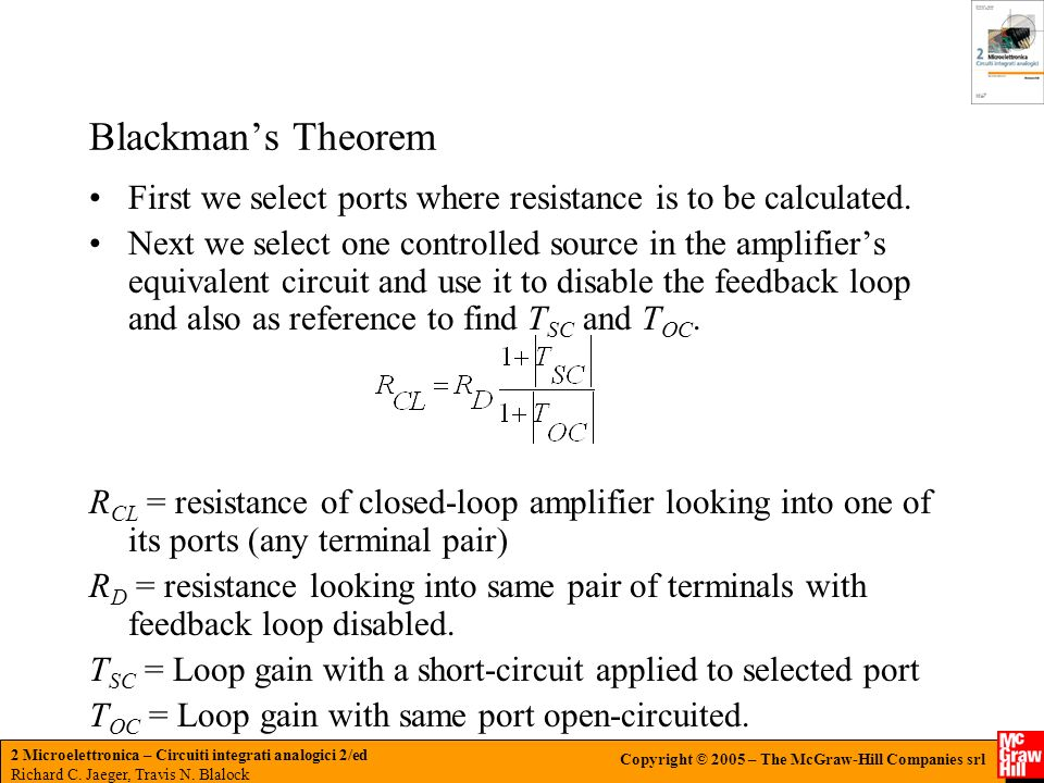 Blackman's Theorem First we select ports where resistance is to be calculated.