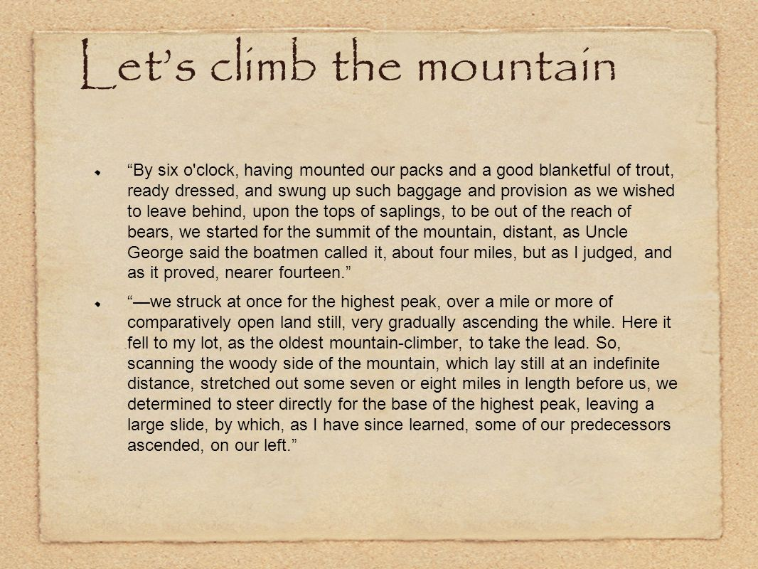 Let's climb the mountain