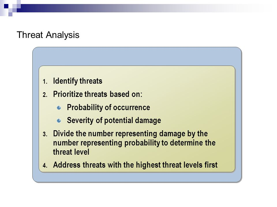 Threat Analysis Identify threats Prioritize threats based on: