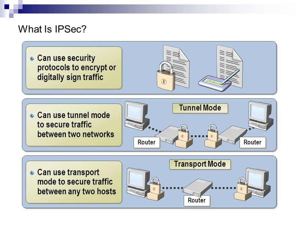 What Is IPSec Can use security protocols to encrypt or digitally sign traffic. Can use tunnel mode to secure traffic between two networks.