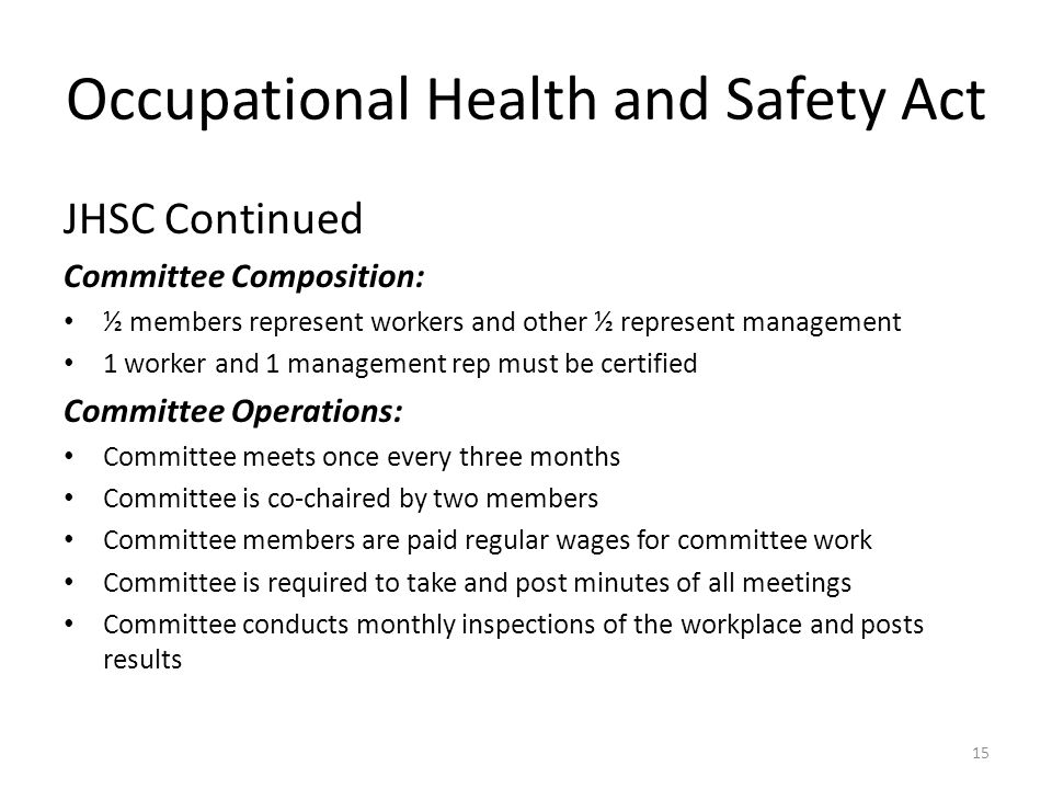occupational health and safety act ontario pdf