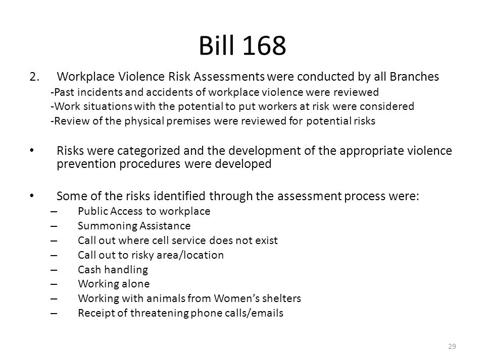 Health and safety 101 june ppt download for Workplace violence and harassment risk assessment template