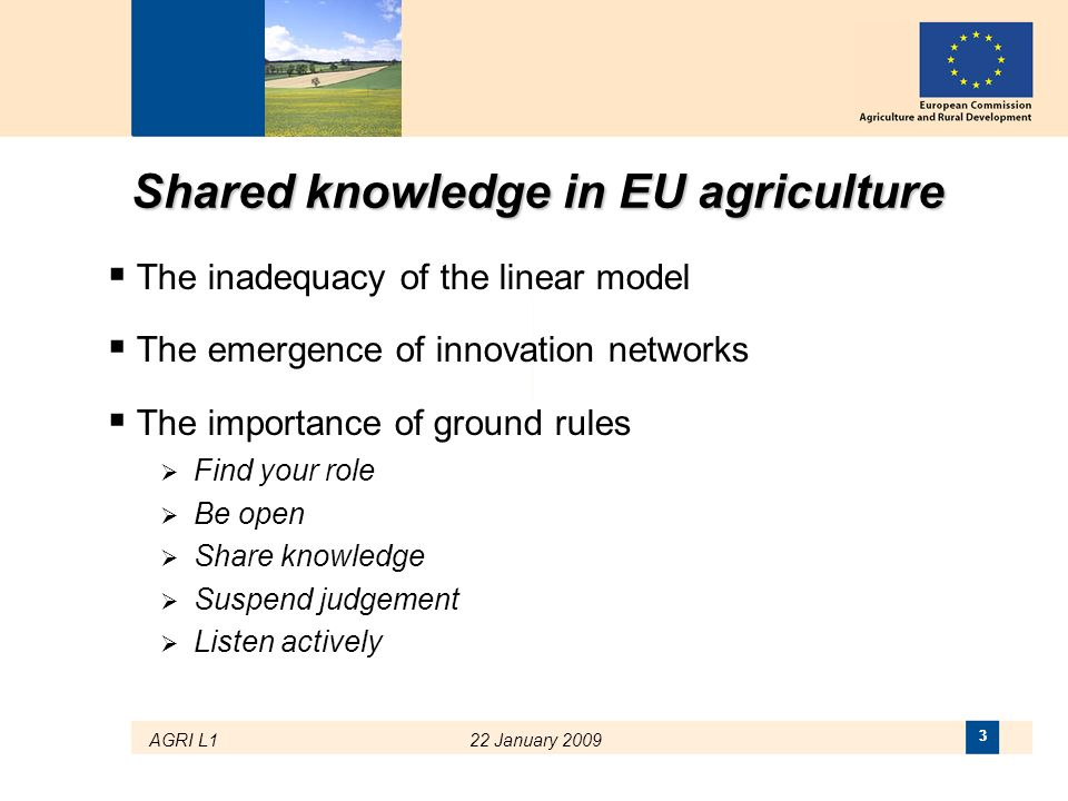 Shared knowledge in EU agriculture